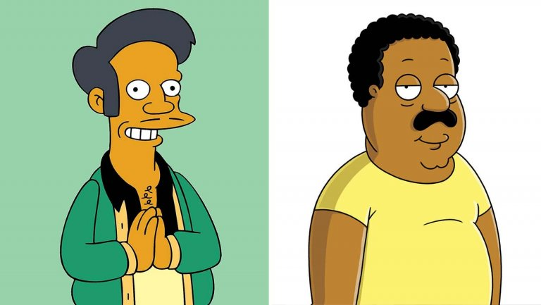 apu from the simpsons and cleveland from family guy  photofest   split   h 2020  - Simpsons & Family Guy Goes WOKE! Stops Hiring White Actors!